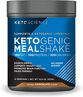 Keto Science Ketogenic Meal Shake Chocolate Dietary Supplement, Rich in MCTs and Protein, Keto and Paleo Friendly, Weight Loss, 19 oz. (14 servings)