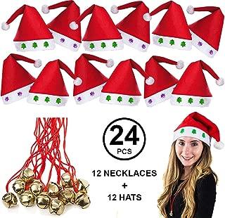 Tigerdoe Santa Hats Bulk - Dozen Santa Hats - Dozen Jingle Bell Necklaces - Christmas Hats (24 Pc)