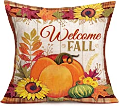 Xihomeli Autumn Pumpkin Pillow Covers Decorative Retro Maple Leaf Sunflower Fall Decor Throw Pillow Cover Cotton Linen 18 x 18 Inches Farmhouse Decor for The Home Cushion Cover (Welcome Fall)