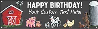 Cohas Farm Theme Custom Happy Birthday Banner Includes 16 by 52 Inch Vinyl Banner with Metal Hanging Rings and Custom Text