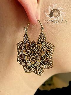 Brass Earrings - Brass Hoops - Tribal Earrings - Indian Earrings - Ethnic Hoops - Tribal Hoops - Ethnic Earrings - Brass Jewelry EB101