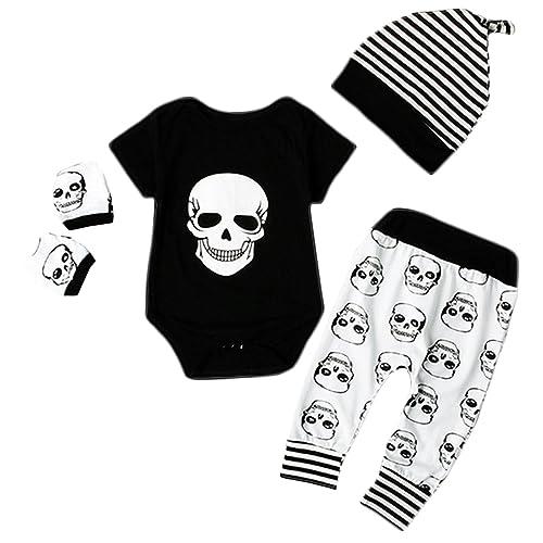 f832b66df Newborn Baby Boy Girl Halloween Skull Bodysuit Tops+Long Pants+Hat Outfit