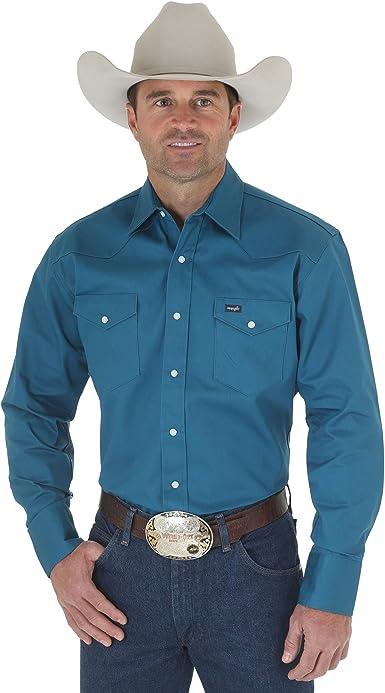 Wrangler MS71419 Camisa para Hombre, Verde azulado oscuro, 3X