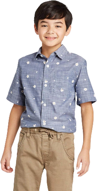 Cat & Jack Boys' Short Sleeve Button-Down Shirt Blue Chambray Jean (S 6-7)