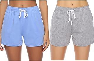 Sykooria Pantalones Cortos de algodón para Mujer, Cintura Suave con cordón Pijamas de salón Parte Inferior de chándal para...