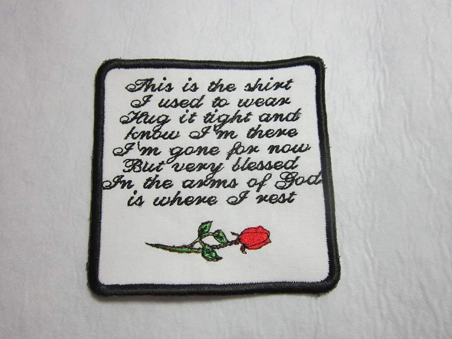 Rose Memory Pillow Patch, sew on or iron-on