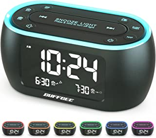 Buffbee Bedside Alarm Clock Radio with 7 Color Night Light,Dual Alarm, Snooze, Dimmer, USB Charger, Nap Timer, Digital Ala...
