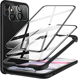 [2+2 Pack] LK 2 Pack Screen Protector + 2 Pack Camera Lens Protector Compatible with iPhone 11 6.1 inch, 9H Tempered Glas...
