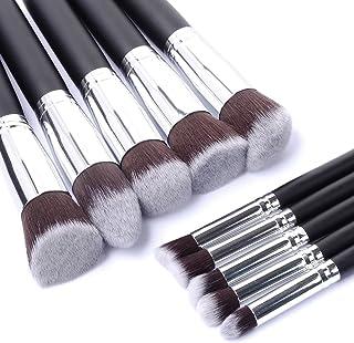 10 pcs cosmetic makeup beauty brushes tool set kit brush with leather case poush -silver black
