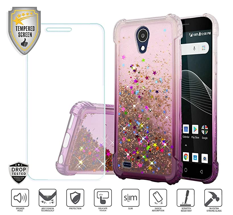 Compatible for At&t Axia QS5509a Case, Cricket Vision Case, with Tempered Glass Screen Protector, Premium Design Case for Women Girl Liquid Water Glitter Hybrid Tough TPU [Shockproof] (Purple)