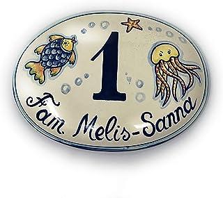 CERAMICHE D'ARTE PARRINI- Ceramica italiana artistica numero civico in ceramica 19x12 personalizzato decorazione mare targ...