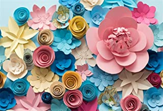 LFEEY 5x3ft Paper Flowers for Baby Shower Backdrop Adults Kids Girls Portrait Birthday Party Events Photoshoot Prop Wallpaper 3D Flower Wall Floral Photography Background Cloth Photo Studio Props