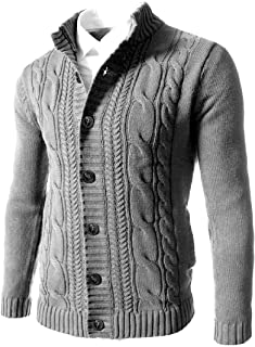 Loyomobak Mens Open Front Sweater Knit Winter Button Up Cardigan Coat