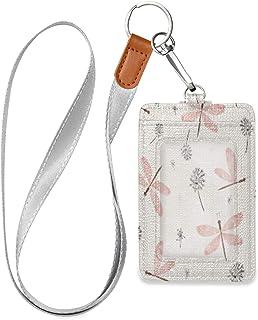 HMZXZ Porte-badge d'identification vertical en cuir synthétique avec cordon détachable Motif aquarelle et pissenlits