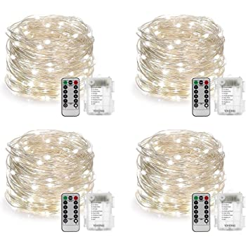 YIHONG 4 Set Fairy Lights Battery Operated Christmas String Lights with Remote Timer for 8 Modes Twinkle Lights 16.4 feet 50 LED Firefly Lights -White