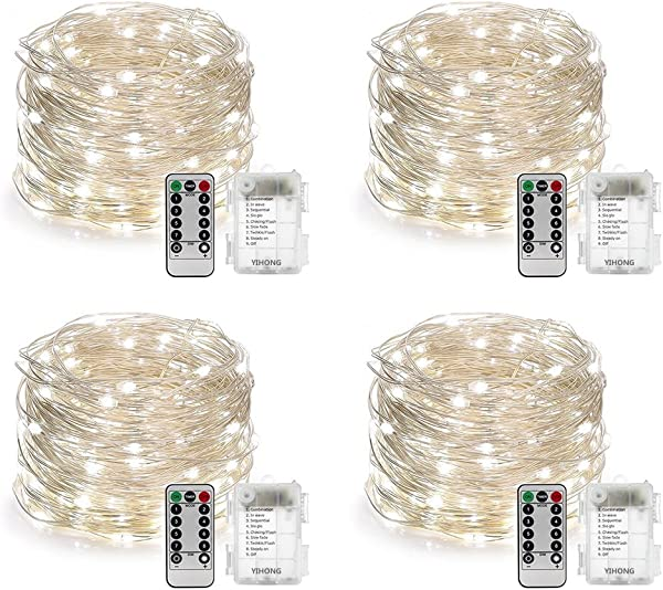 怡红 4 套装仙女灯电池供电串灯带远程定时器 8 种模式闪烁灯 16 4 脚 50 LED 萤火虫灯白色