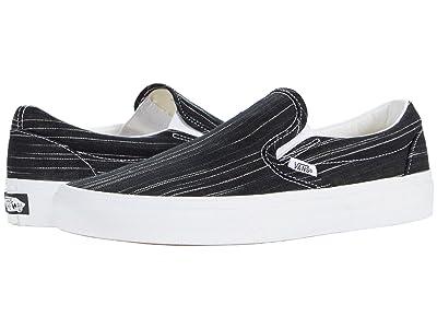 Vans Classic Slip-On ((Suiting) Black/Stripes) Skate Shoes