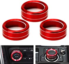 iJDMTOY 3pcs Red Anodized Aluminum AC Climate Control & Center Console Navi Multi-Media Switch Knob Ring Covers For 2014-2018 Mazda 3, 2015-up Mazda CX-5