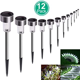 SUNNEST Solar Lights Outdoor - 12 Pack Waterproof Outdoor Solar Garden Lights Solar Powered Pathway Lights - Bright White - Landscape Lights for Lawn, Patio, Yard, Walkway, Driveway (Stainless Steel)