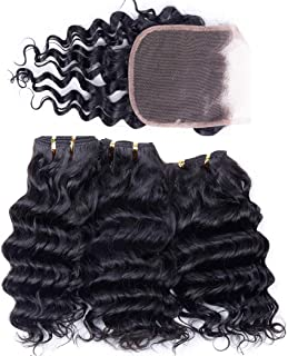 Peruvian Human Hair Bundles with Closure Deep Wave 3 Bundles with Lace Closure (10 10 10 and 8) 50gram Per Bundle 10A Grade Unprocessed Virgin Peruvian Deep Curly Hair Bundles with Closure