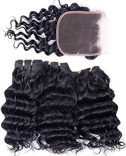 Peruvian Human Hair Bundles with Closure Deep Wave 3 Bundles with Lace Closure (10 10 10 and 8) 50gram Per Bundle 10A Grade Unprocessed Virgin Peruvian Deep Curly Hair Bundles with Closure