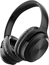 Active Noise Cancelling Headphones, Letscom Bluetooth Headphones with Mic Deep Bass Wireless Headphones Over Ear, 25 Hours Playtime, Soft Protein Earpads for Travel Work TV PC Cellphone - Black