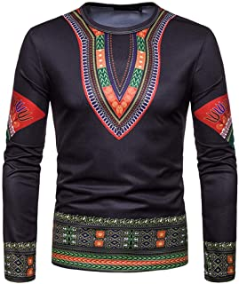 Willsa Mens Shirts Autumn Casual African Indian Print Dashiki Long Sleeve Pullover Top Blouse