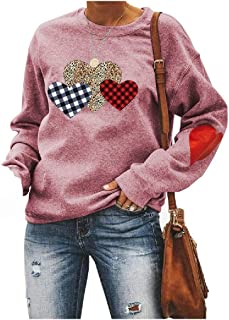 Comaba Women's Long Sleeve Leopard Printed Baggy Style Crew Neck Tees Shirt