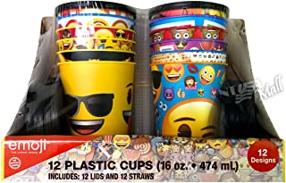 Emoji 16 oz Reusable Plastic Cup's with Lid and Straws 12-Pack