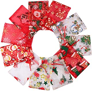Outdoorfly 22PCS Organza Jewelry Gift Bag 4x6 Inches Christmas Halloween Snowman Favor Luck Bags with Drawstring Candy Pouches Bags for Wedding Party Baby Shower Bags(Christmas Set)