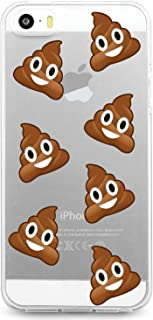 JewelryVolt Clear Phone Case for iPhone 5 or iPhone 5s Full Color UV Printed Poop Emoji