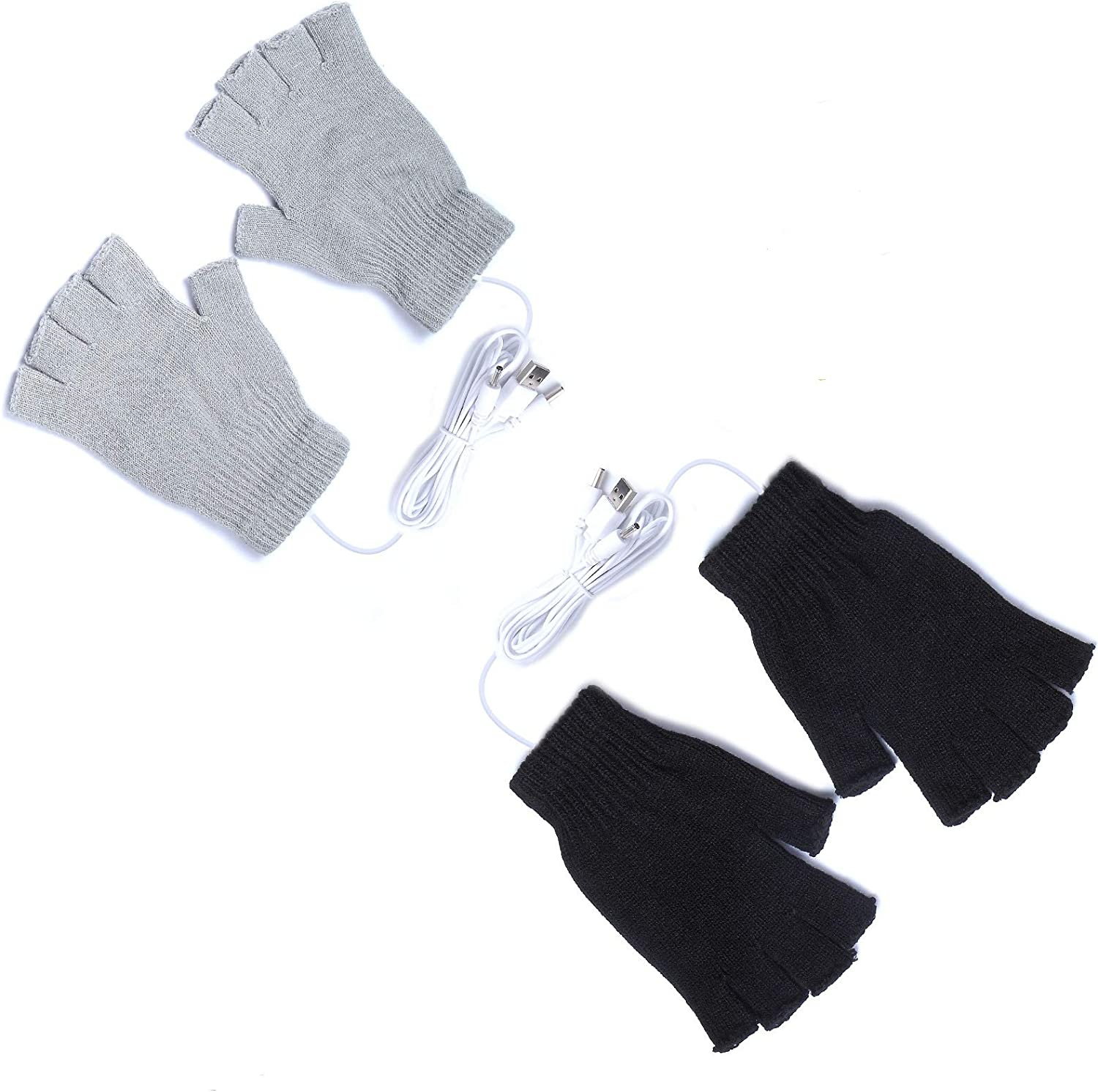 2 Pairs USB Heated Gloves for Men and Women, USB 2.0 Powered Stripes Heating Pattern Knitting Wool Heating Mittens Hands Warmer Fingerless Washable Design Winter Gift (Black & Gray)