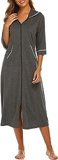 Ekouaer Womens Zipper House Dress Long Sleeve Duster Hooded Robe with Pockets, Lightweight House Coat V-Neck Loose Bathrobe