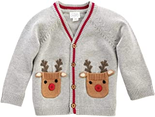 Kids Baby Boys Santa's Workshop Reindeer Cardigan Sweater