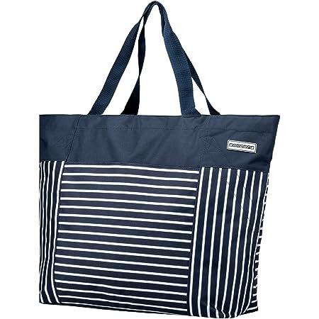 anndora XXL Shopper Navy blau weiß - Strandtasche 40 Liter Schultertasche Einkaufstasche