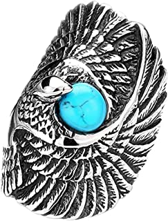 SAINTHERO Men's 316L Stainless Steel Rings Vintage Silver Black Gothic Tribal Biker Large Eagle with Created Blue Turquoise Size 7-13