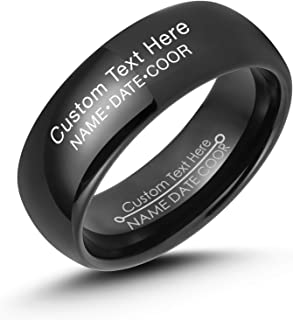 LerchPhi Mens 8mm Black Tungsten Carbide Ring High Polished Both Outside and Inside Free Personalized Engrave Supported Comfort Fit Wedding Band