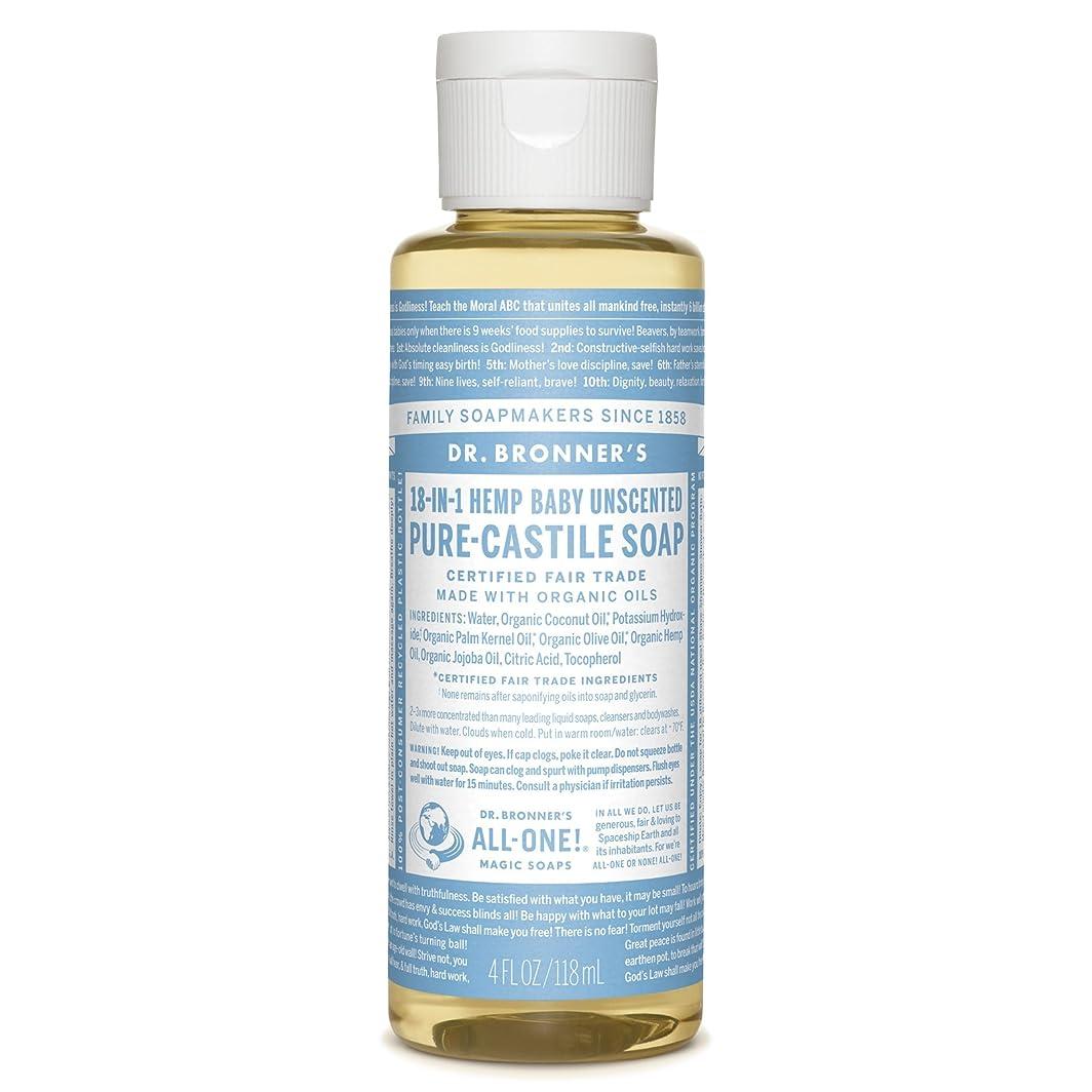 基本的な弾薬エジプト人ドクターブロナーズマジック石鹸ピュアカスティーリャ石鹸、18-IN-1麻、無香料ベビーマイルド、4液量オンス(118ミリリットル)