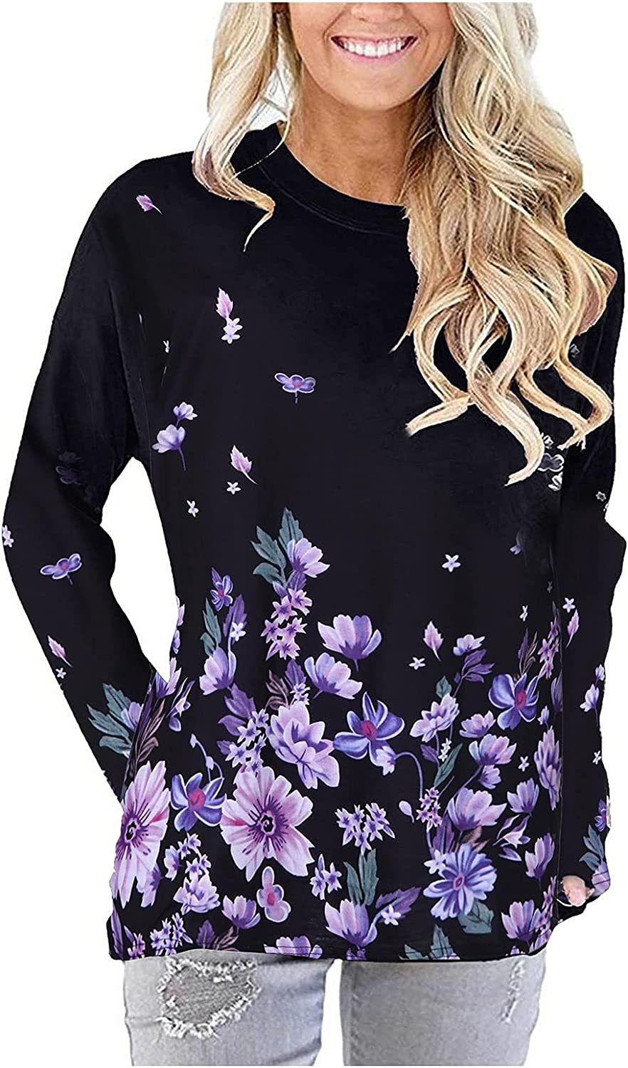 Women Printed Pocket Top Pullover Casual Round Neck Long Sleeve Shirts Autumn Winter Comfortable Tunics