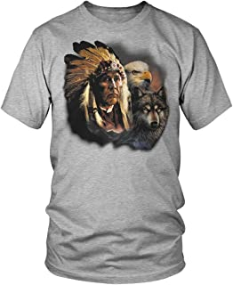 Native American Chief, Bald Eagle, Wolf Men's T-Shirt