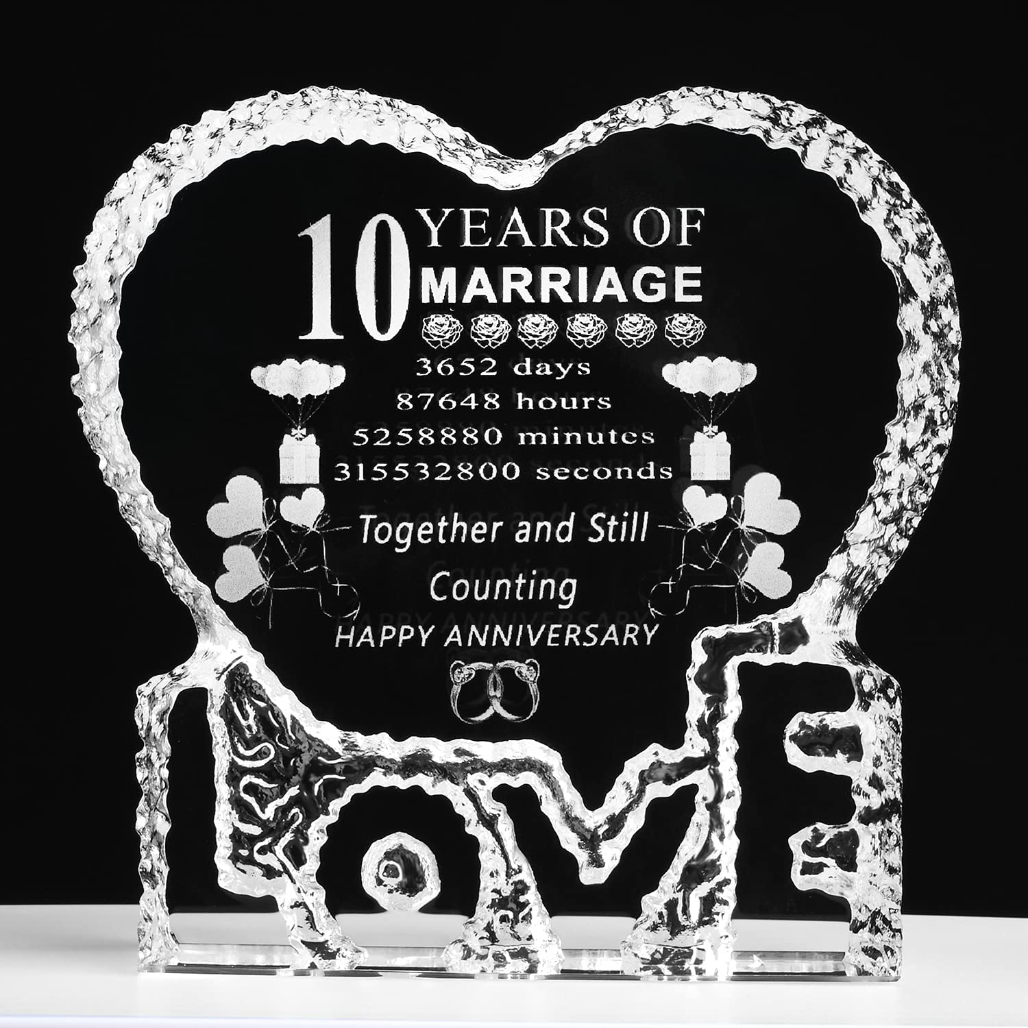 10 Years Superlatite 10th Wedding Anniversary Laser Him Crystal Al sold out. Heart for Hu