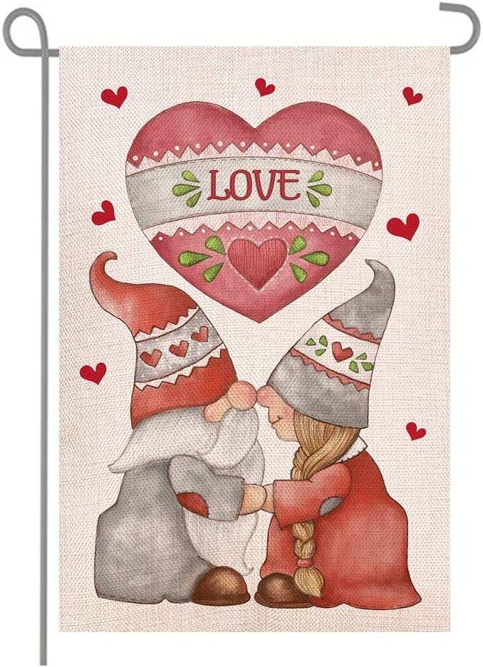 ANOVO St Valentine's Day Reservation Gnomes Double Burlap Rapid rise Garden Sided Love