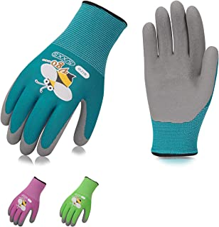 Vgo 3Pairs Age 3-5 Kids Gardening,Lawning,Working Gloves,Foam Rubber Coated(Size XXXS,3 Colors,KID-RB6013)