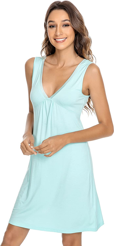 YOSOFT Bamboo Nightgowns for Women Sleepwear Sleeveless Nightgowns for Women V Neck Sleep Shirt Plus Size Sleep Dress S-4X