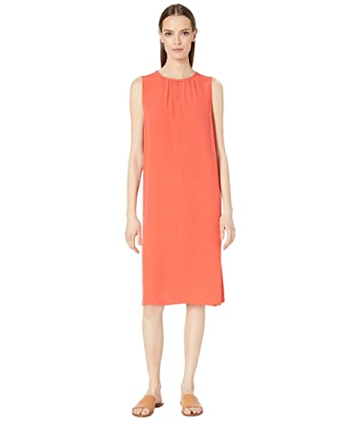 Eileen Fisher Round Neck Knee Length Dress (Red Lory) Women