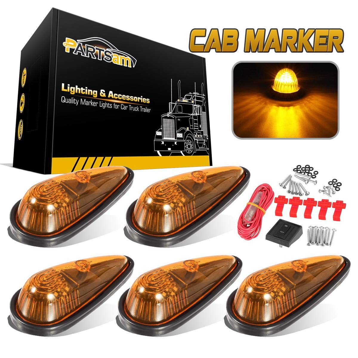CZC AUTO 5 Pack 5-1//2 inch Amber Teardrop Cab Clearance Marker Roof Running ID Light Kit with on//off Switch Front Rear Top-Mounted for Trailer Truck RV Pickup Semi Van Boat Camper Bus Sedan 10157