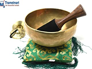 """9"""" Heart Chakra Tibetan Singing Bowl~ for Meditation, Healing, Mindfulness, Relaxation & Sound Therapy ~with Wooden Mallet, drum-stick, Square Cushion, Tingsha Cymbals ~ Handmade in Nepal"""