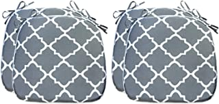 Fabritones Outdoor Cushions 16x17 Inch 4 Pack Comfortable Seat Pads Grey Quatrefoil Lattice Square Chair Pads for Outdoor ...