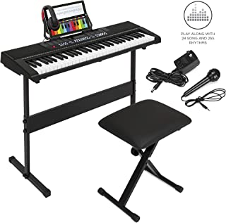 Best Choice Products 61-Key Beginner Electronic Keyboard Piano Set w/ 3 Teaching Modes, H-Stand, Stool, Music Stand, Headphones (Black)