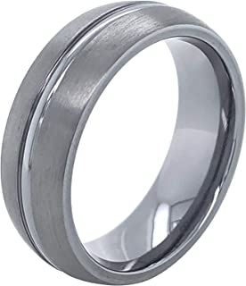 Tantalum 7mm Brushed Matte Dual Finish Low-Dome Men's Comfort-Fit Wedding Band Ring with High-Polish Center Stripe